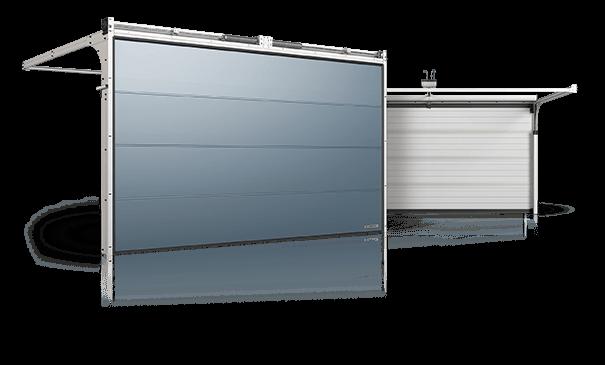 Slika prikazuje garažna vrata Prime, zunanji in notranji pogled